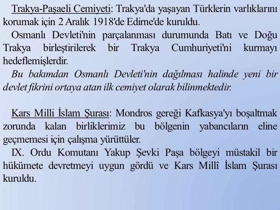 Trakya-Paşaeli Cemiyeti: Trakya da yaşayan Türklerin varlıklarını korumak için 2 Aralık 1918 de Edirne de kuruldu.