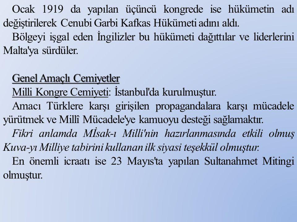 Ocak 1919 da yapılan üçüncü kongrede ise hükümetin adı değiştirilerek Cenubi Garbi Kafkas Hükümeti adını aldı.