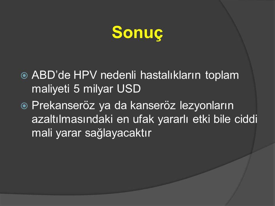 Sonuç ABD'de HPV nedenli hastalıkların toplam maliyeti 5 milyar USD