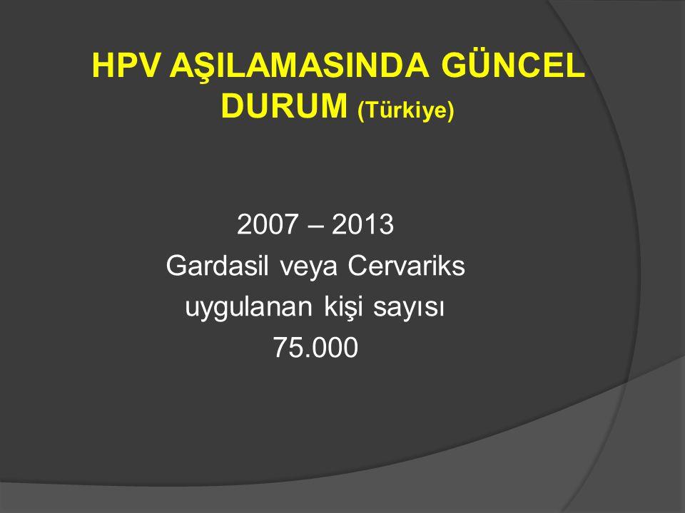HPV AŞILAMASINDA GÜNCEL DURUM (Türkiye)