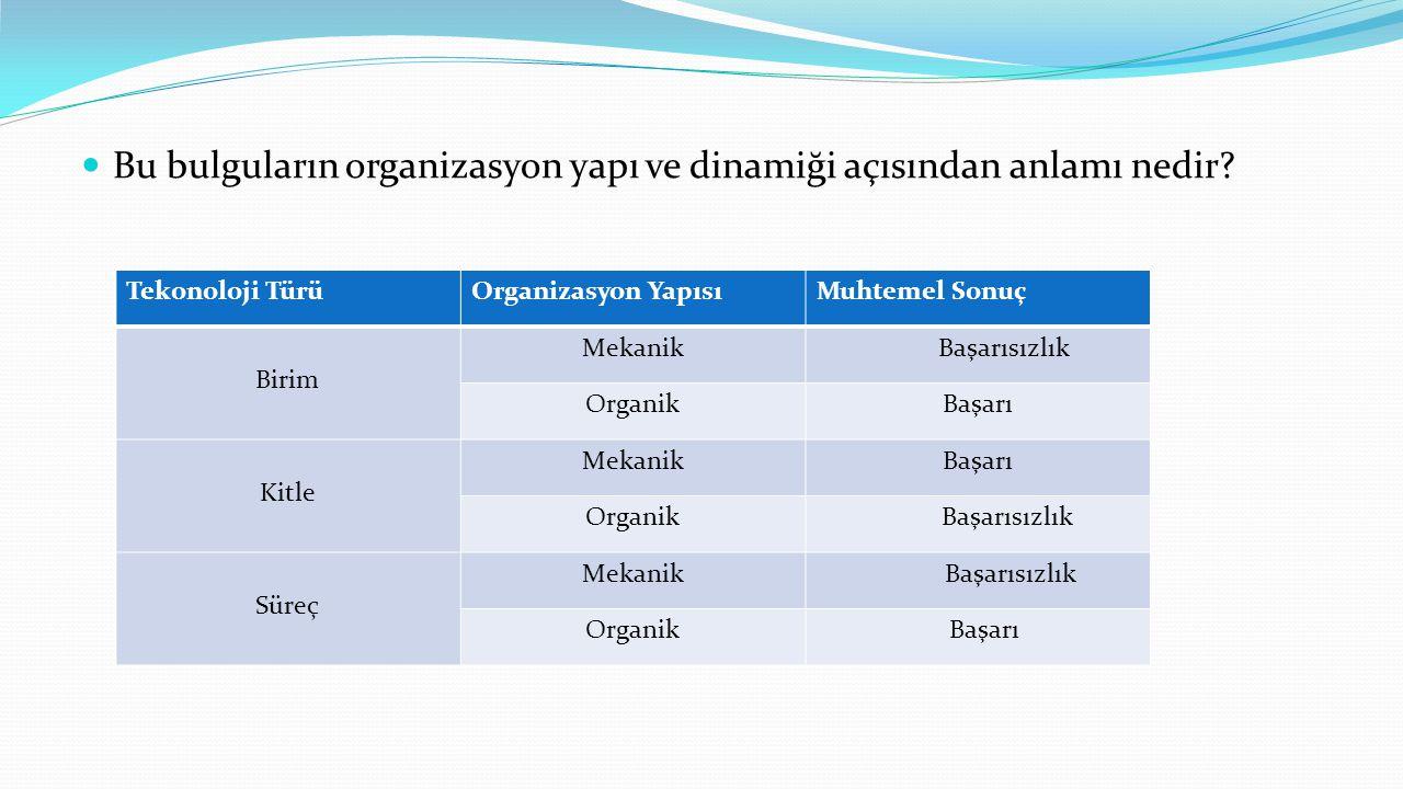 Bu bulguların organizasyon yapı ve dinamiği açısından anlamı nedir