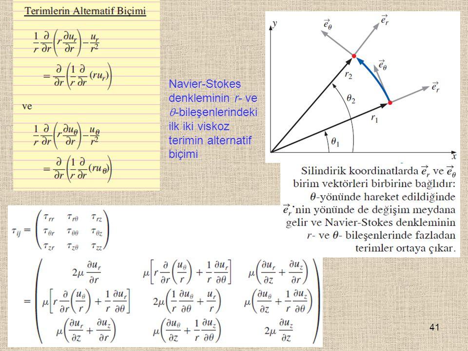 Navier-Stokes denkleminin r- ve -bileşenlerindeki ilk iki viskoz terimin alternatif biçimi