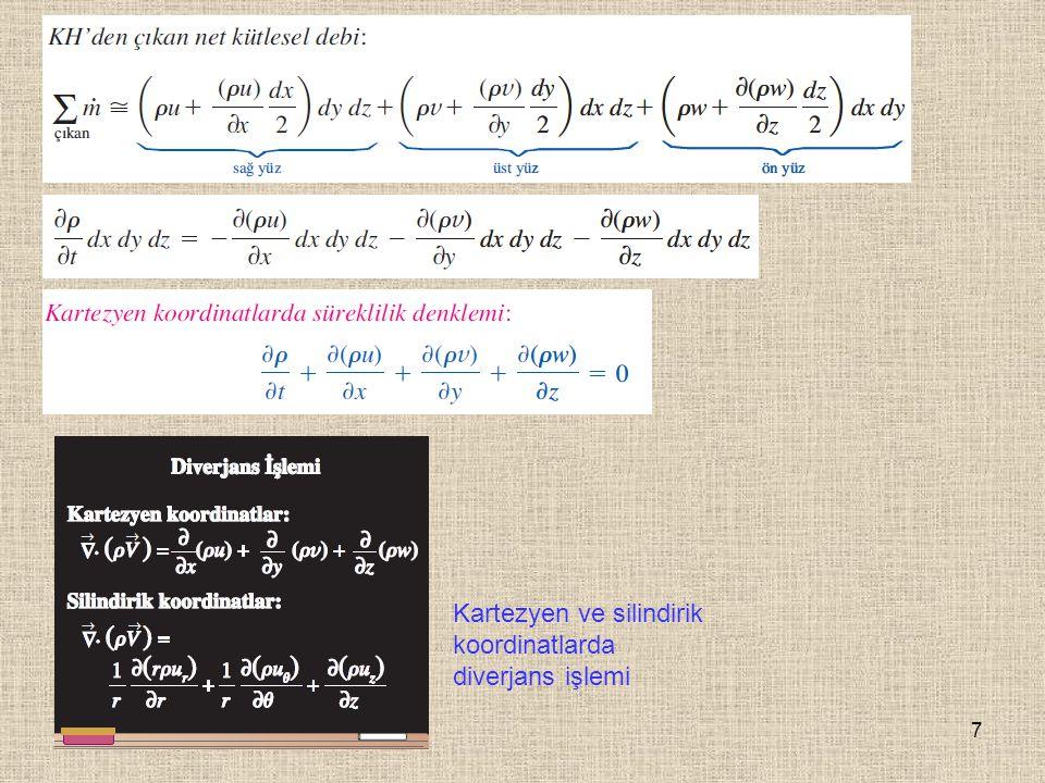 Kartezyen ve silindirik koordinatlarda diverjans işlemi