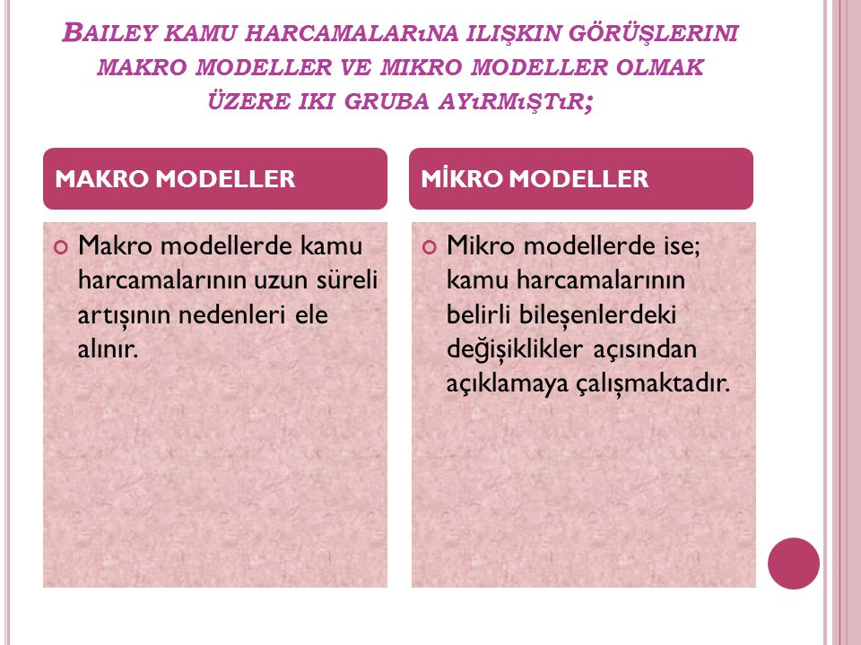 Bailey kamu harcamalarına ilişkin görüşlerini makro modeller ve mikro modeller olmak üzere iki gruba ayırmıştır;