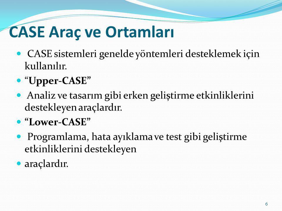 CASE Araç ve Ortamları CASE sistemleri genelde yöntemleri desteklemek için kullanılır. Upper-CASE