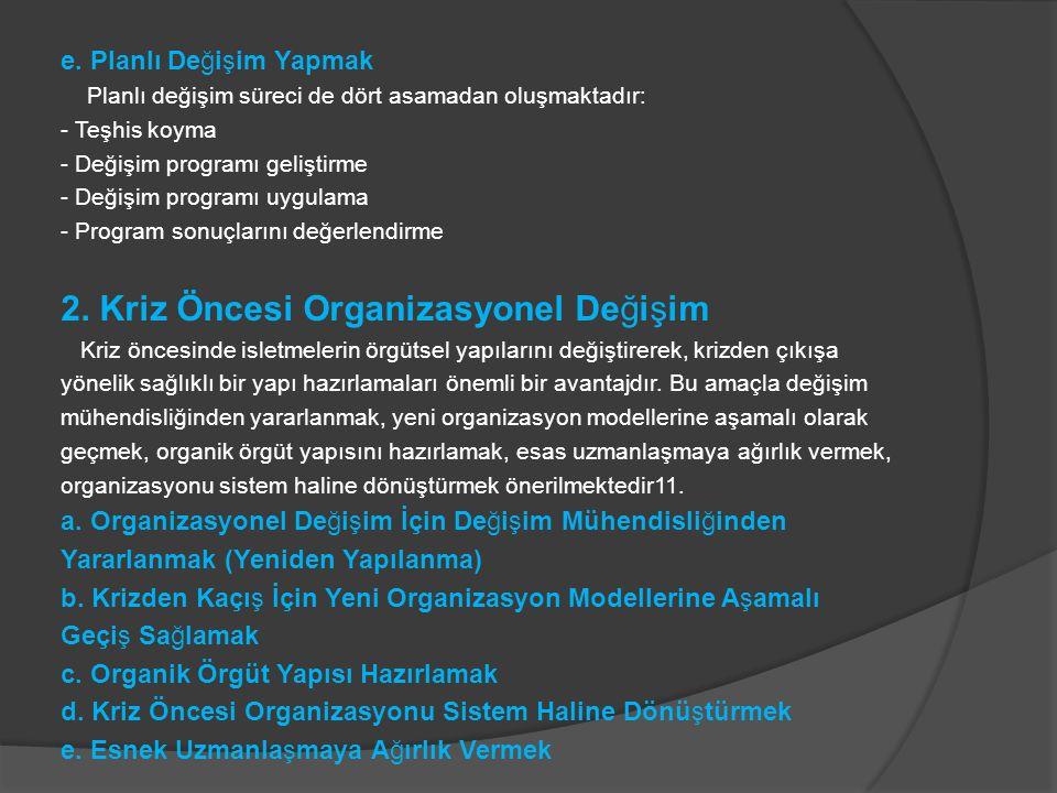 2. Kriz Öncesi Organizasyonel Değişim