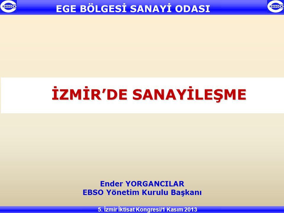 EBSO Yönetim Kurulu Başkanı 5. İzmir İktisat Kongresi/1 Kasım 2013