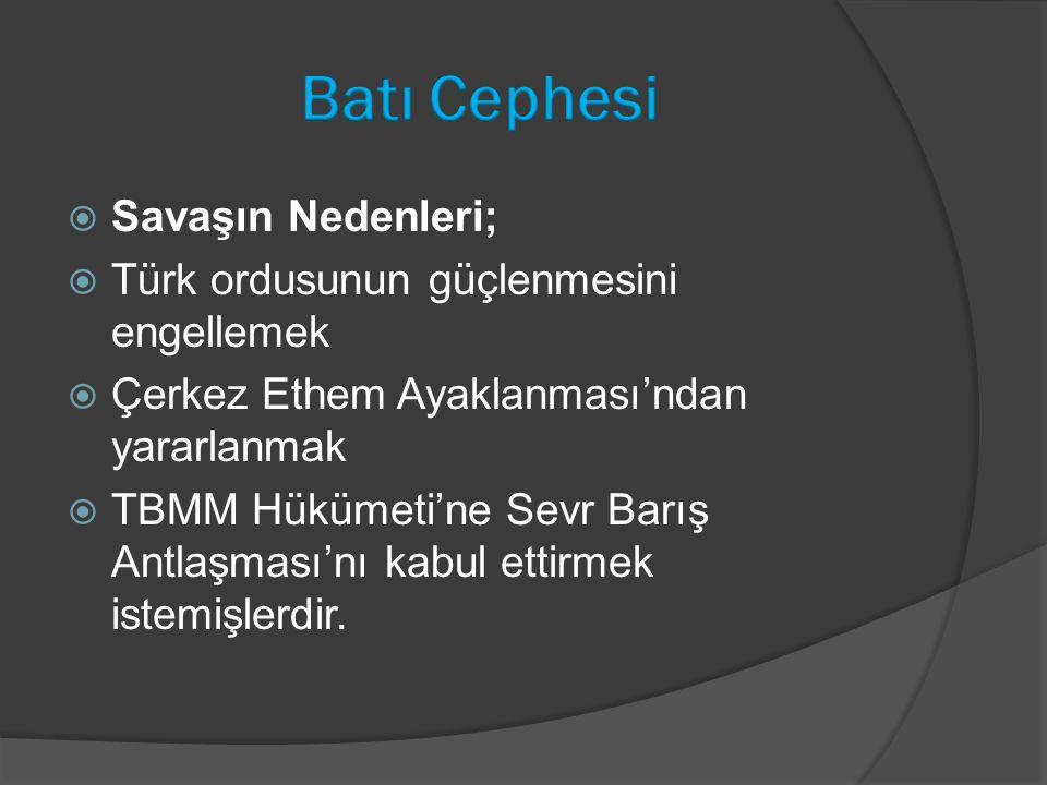 Batı Cephesi Savaşın Nedenleri; Türk ordusunun güçlenmesini engellemek
