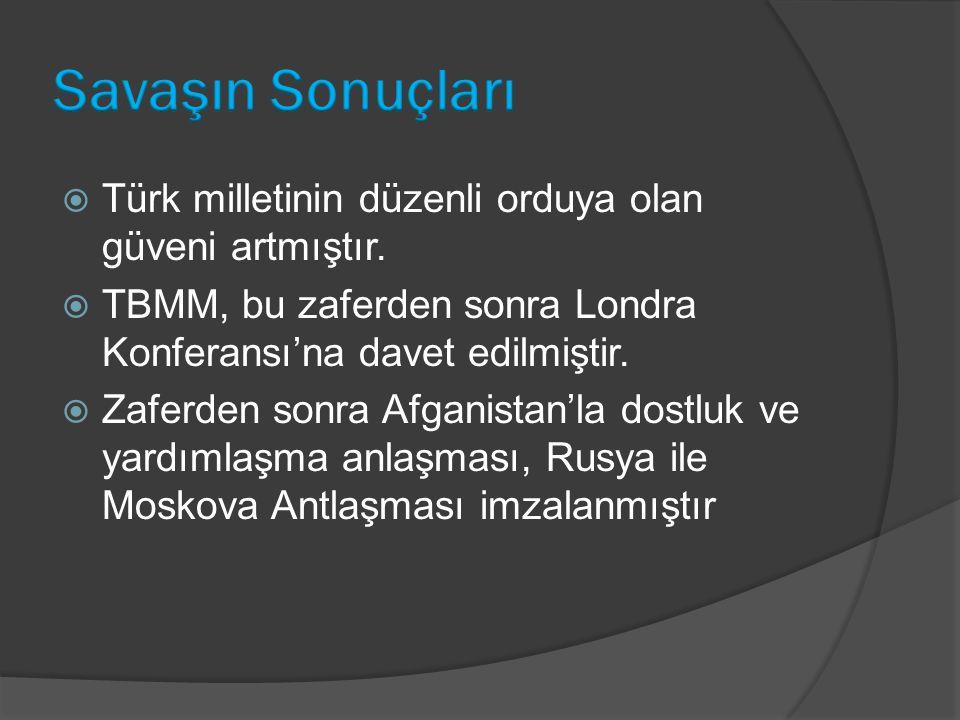 Savaşın Sonuçları Türk milletinin düzenli orduya olan güveni artmıştır. TBMM, bu zaferden sonra Londra Konferansı'na davet edilmiştir.