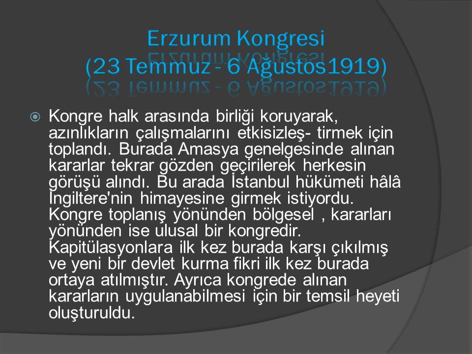 Erzurum Kongresi (23 Temmuz - 6 Ağustos1919)