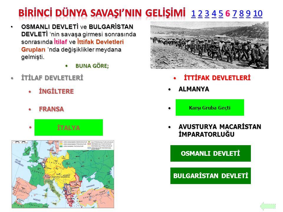 BİRİNCİ DÜNYA SAVAŞI'NIN GELİŞİMİ 1 2 3 4 5 6 7 8 9 10