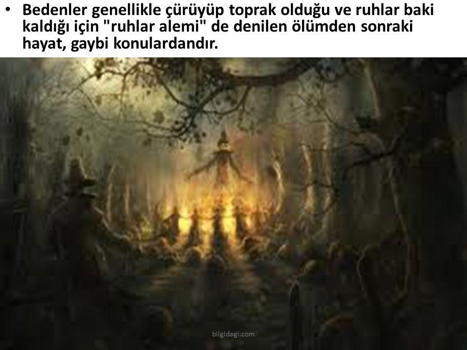 Bedenler genellikle çürüyüp toprak olduğu ve ruhlar baki kaldığı için ruhlar alemi de denilen ölümden sonraki hayat, gaybi konulardandır.