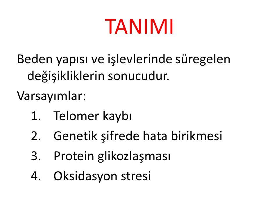TANIMI Beden yapısı ve işlevlerinde süregelen değişikliklerin sonucudur. Varsayımlar: Telomer kaybı.