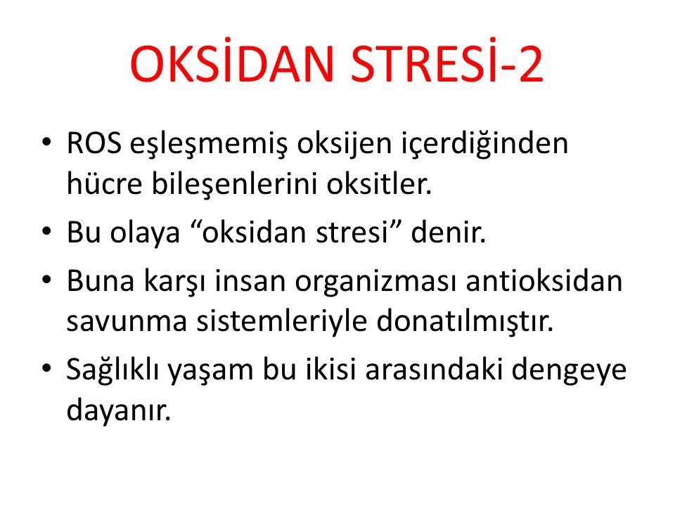 OKSİDAN STRESİ-2 ROS eşleşmemiş oksijen içerdiğinden hücre bileşenlerini oksitler. Bu olaya oksidan stresi denir.