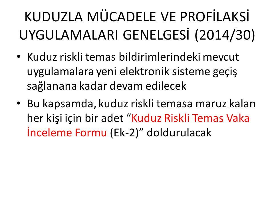 KUDUZLA MÜCADELE VE PROFİLAKSİ UYGULAMALARI GENELGESİ (2014/30)