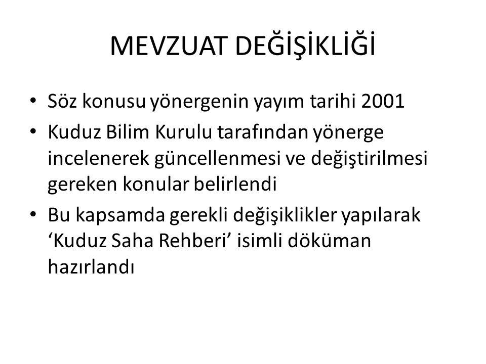 MEVZUAT DEĞİŞİKLİĞİ Söz konusu yönergenin yayım tarihi 2001