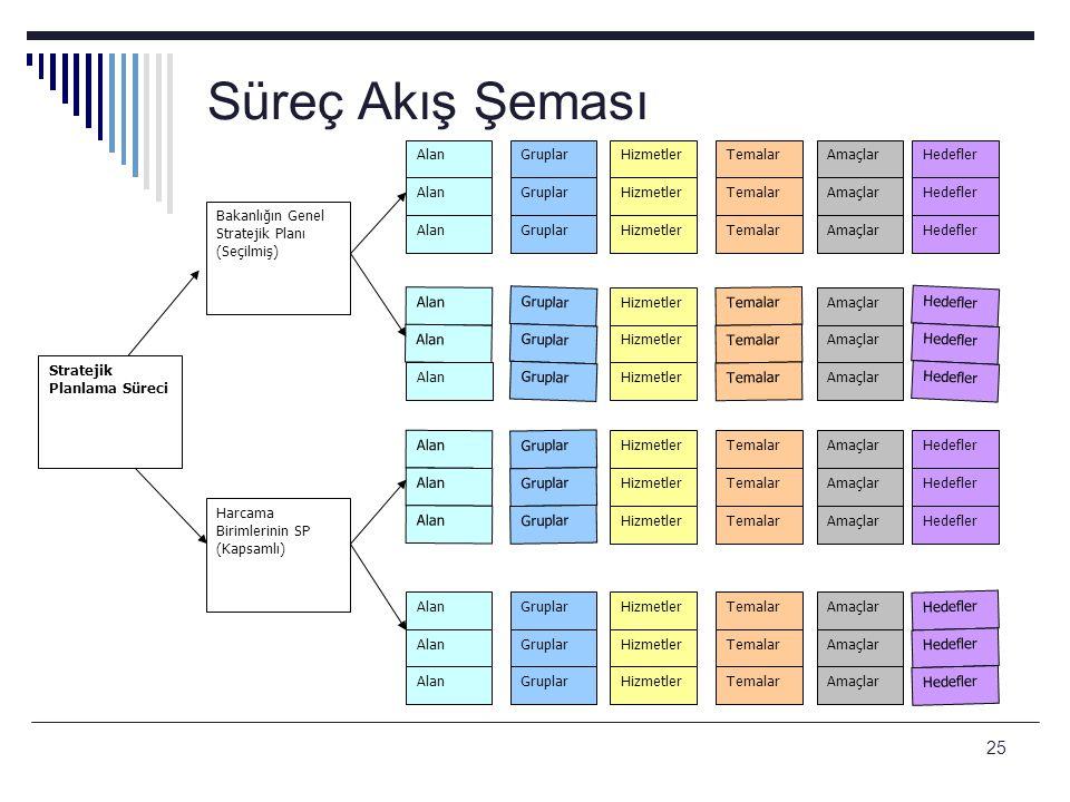 Süreç Akış Şeması Bakanlığın Genel Stratejik Planı (Seçilmiş) Alan