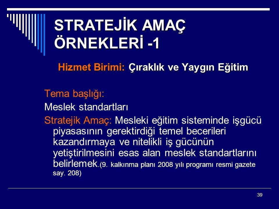 STRATEJİK AMAÇ ÖRNEKLERİ -1