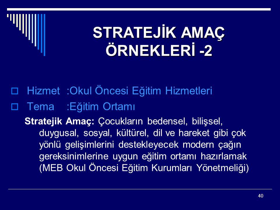 STRATEJİK AMAÇ ÖRNEKLERİ -2