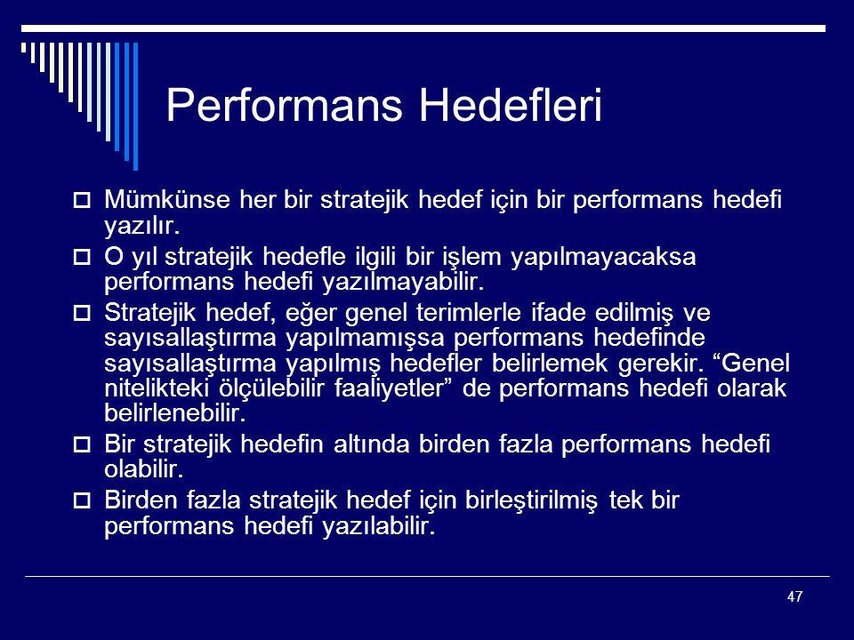 Performans Hedefleri Mümkünse her bir stratejik hedef için bir performans hedefi yazılır.