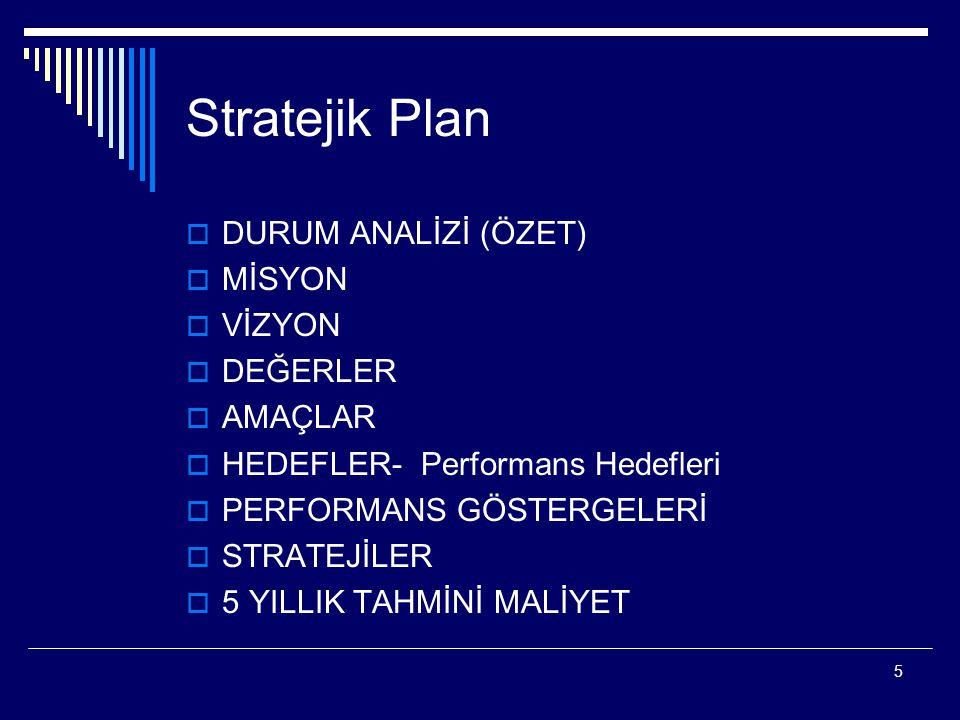 Stratejik Plan DURUM ANALİZİ (ÖZET) MİSYON VİZYON DEĞERLER AMAÇLAR