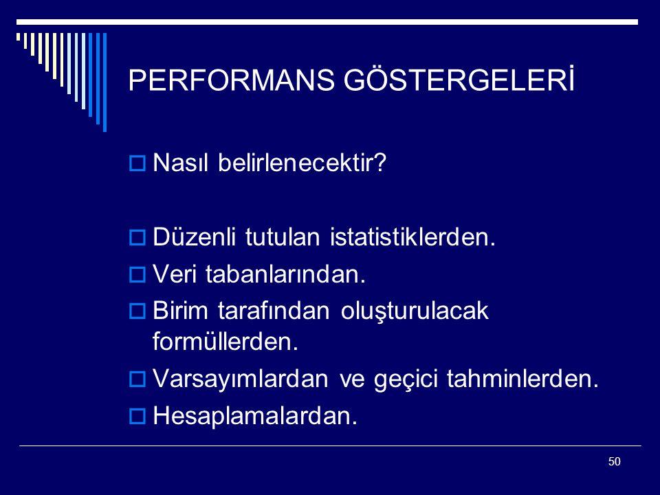 PERFORMANS GÖSTERGELERİ