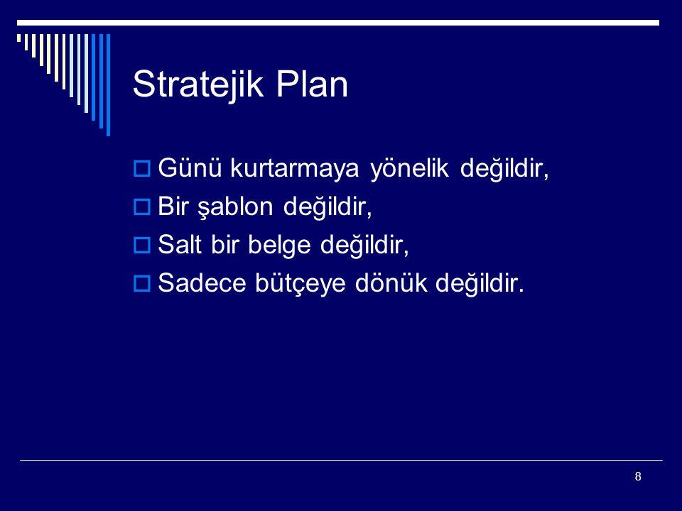 Stratejik Plan Günü kurtarmaya yönelik değildir, Bir şablon değildir,