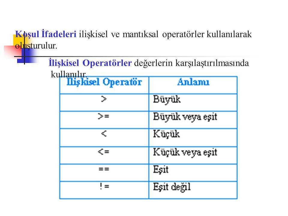 Koşul İfadeleri ilişkisel ve mantıksal operatörler kullanılarak oluşturulur.
