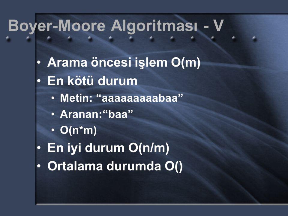 Boyer-Moore Algoritması - V