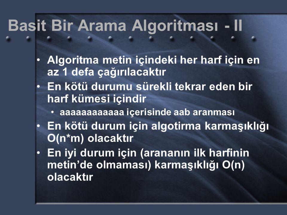 Basit Bir Arama Algoritması - II