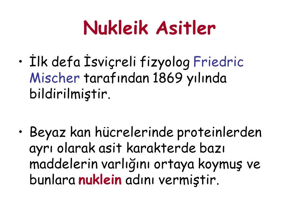 Nukleik Asitler İlk defa İsviçreli fizyolog Friedric Mischer tarafından 1869 yılında bildirilmiştir.