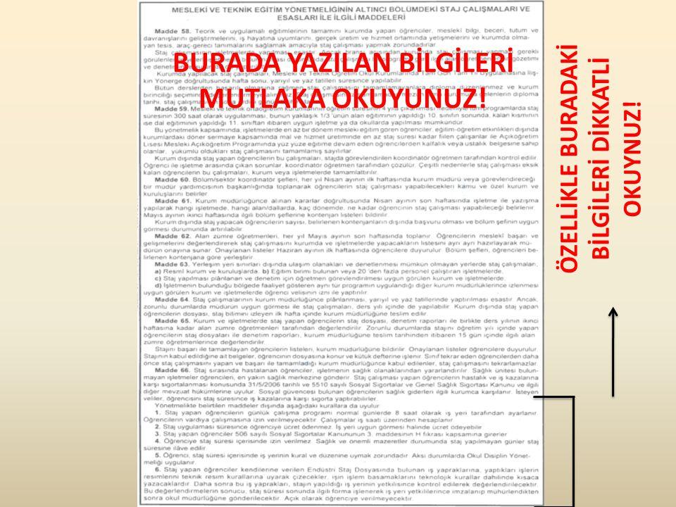 BURADA YAZILAN BİLGİLERİ MUTLAKA OKUYUNUZ!