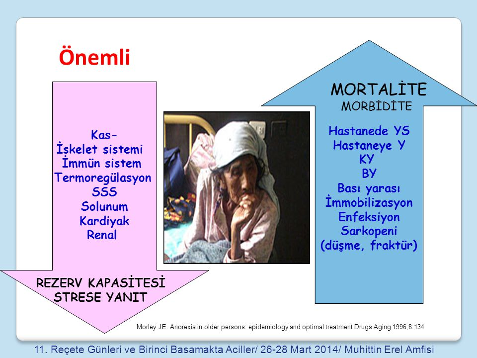 Önemli MORTALİTE Hastanede YS Hastaneye Y MORBİDİTE KY Kas- BY
