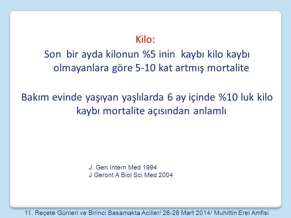 Kilo: Son bir ayda kilonun %5 inin kaybı kilo kaybı olmayanlara göre 5-10 kat artmış mortalite.