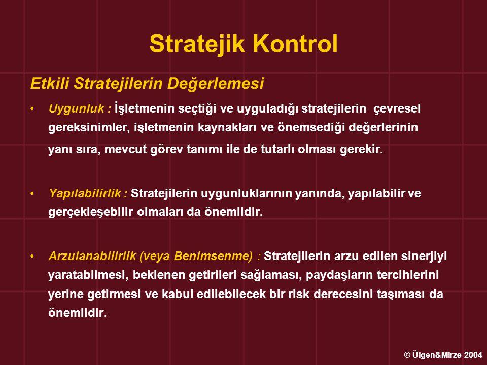 Stratejik Kontrol Etkili Stratejilerin Değerlemesi