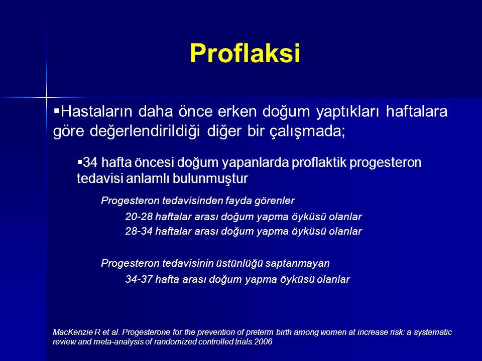 Proflaksi Hastaların daha önce erken doğum yaptıkları haftalara göre değerlendirildiği diğer bir çalışmada;