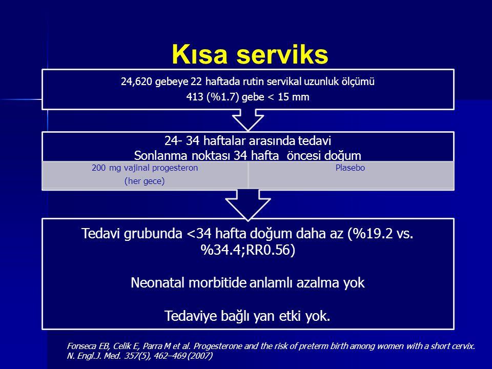 Kısa serviks 24,620 gebeye 22 haftada rutin servikal uzunluk ölçümü. 413 (%1.7) gebe < 15 mm. 24- 34 haftalar arasında tedavi.