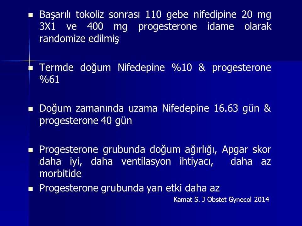 Termde doğum Nifedepine %10 & progesterone %61