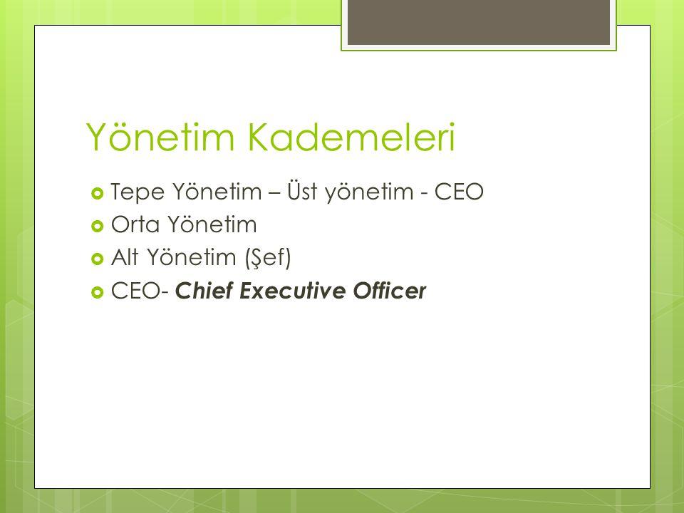 Yönetim Kademeleri Tepe Yönetim – Üst yönetim - CEO Orta Yönetim