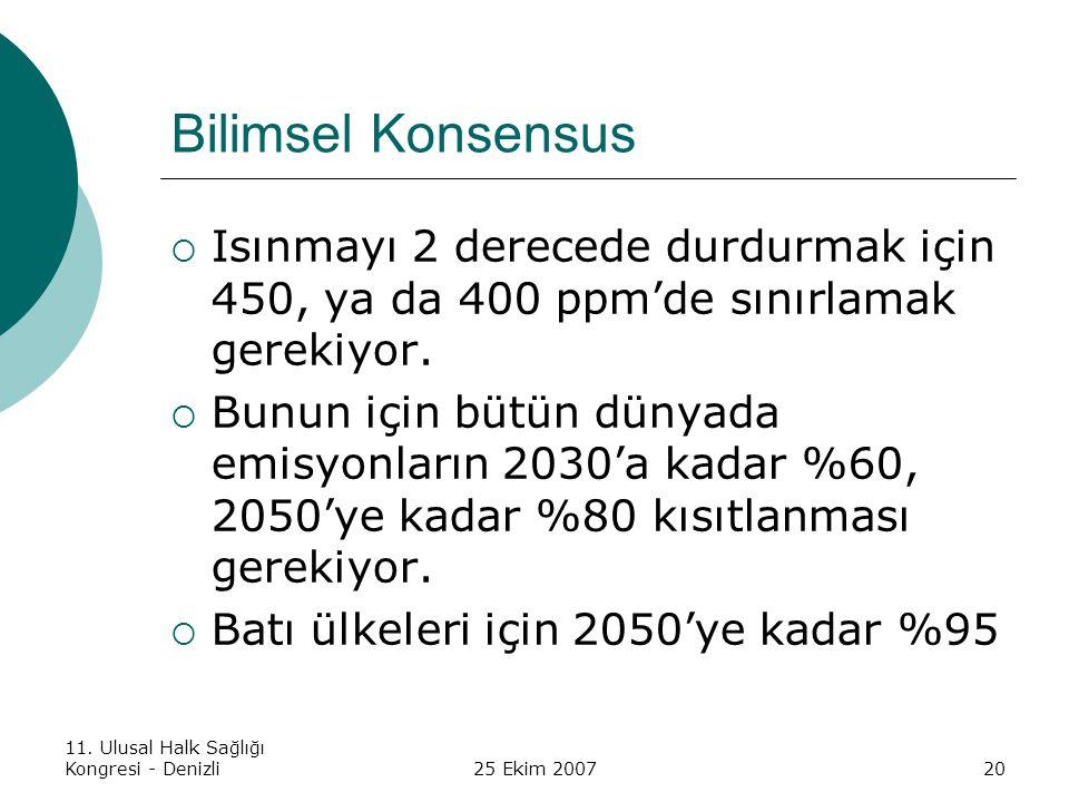 Bilimsel Konsensus Isınmayı 2 derecede durdurmak için 450, ya da 400 ppm'de sınırlamak gerekiyor.