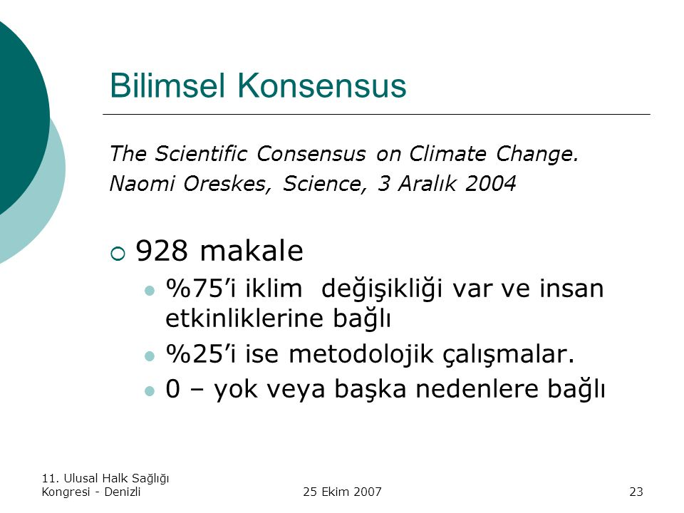 Bilimsel Konsensus 928 makale