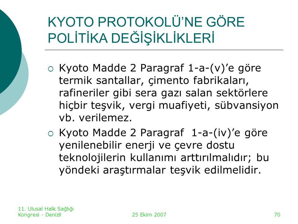 KYOTO PROTOKOLÜ'NE GÖRE POLİTİKA DEĞİŞİKLİKLERİ