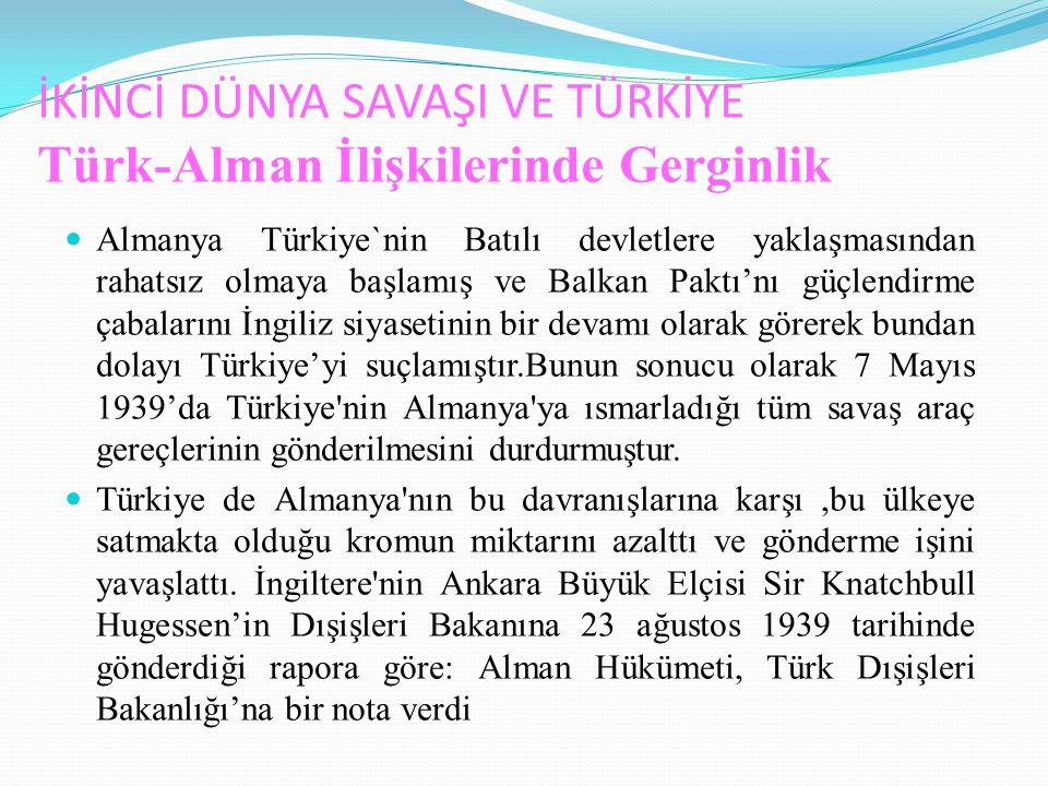 İKİNCİ DÜNYA SAVAŞI VE TÜRKİYE Türk-Alman İlişkilerinde Gerginlik