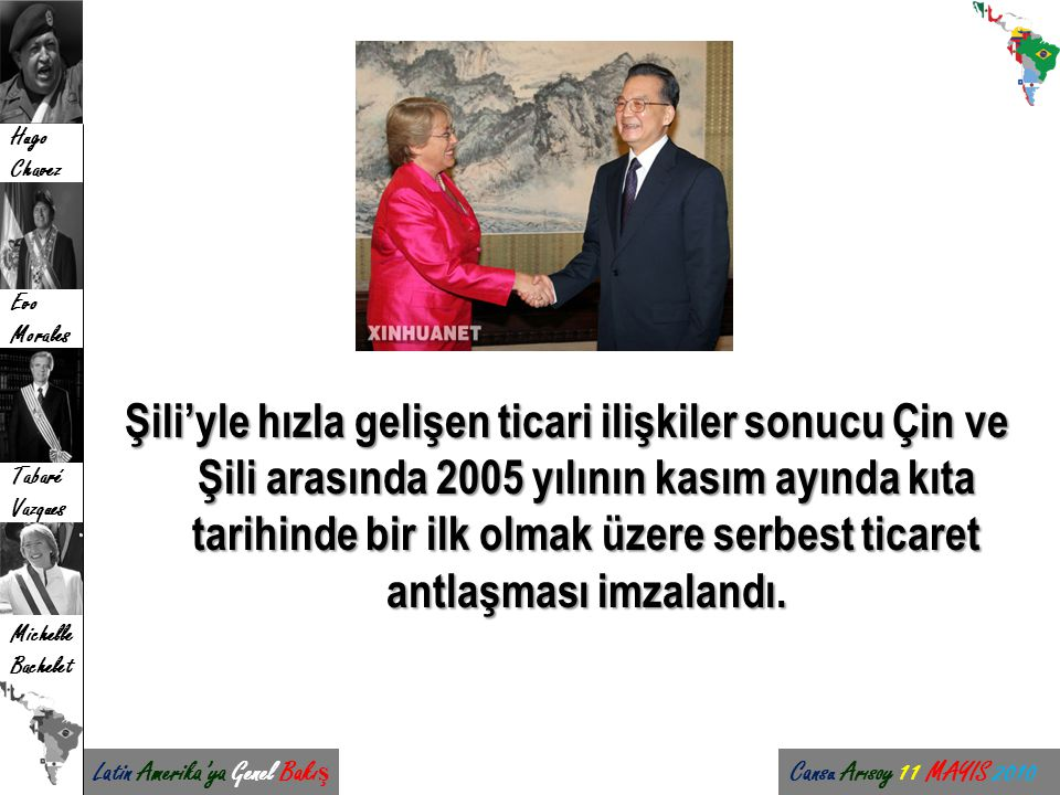 Şili'yle hızla gelişen ticari ilişkiler sonucu Çin ve Şili arasında 2005 yılının kasım ayında kıta tarihinde bir ilk olmak üzere serbest ticaret antlaşması imzalandı.