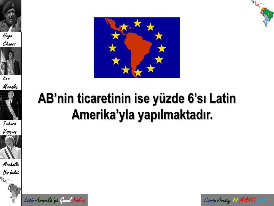 AB'nin ticaretinin ise yüzde 6'sı Latin Amerika'yla yapılmaktadır.