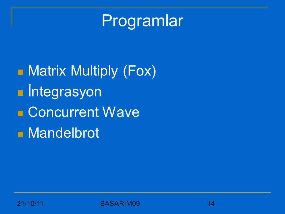Programlar Matrix Multiply (Fox) İntegrasyon Concurrent Wave