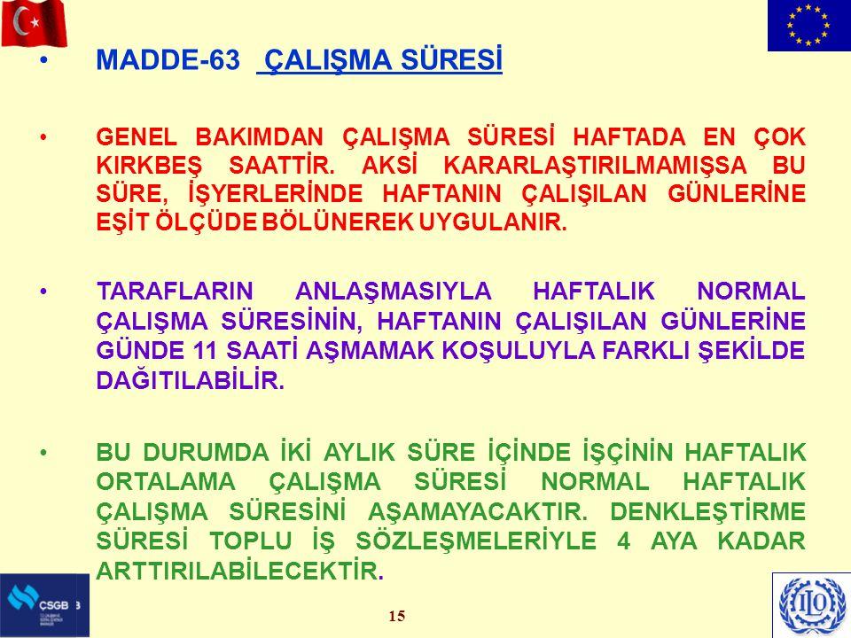 MADDE-63 ÇALIŞMA SÜRESİ