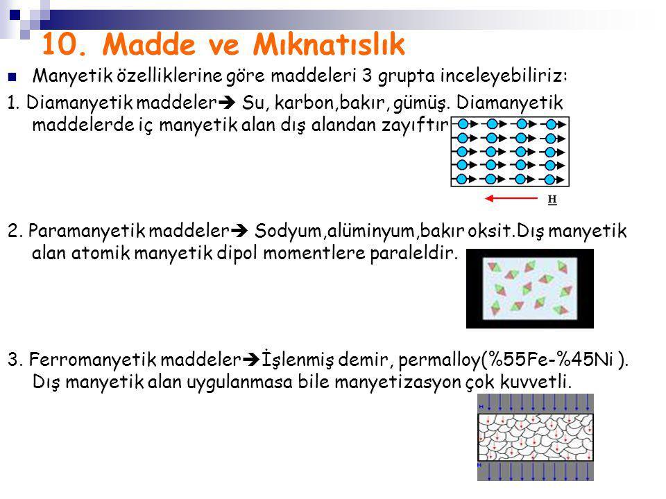 10. Madde ve Mıknatıslık Manyetik özelliklerine göre maddeleri 3 grupta inceleyebiliriz: