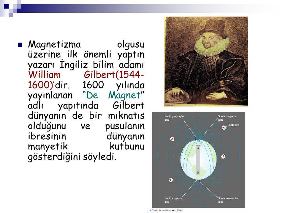 Magnetizma olgusu üzerine ilk önemli yaptın yazarı İngiliz bilim adamı William Gilbert(1544-1600)'dir.