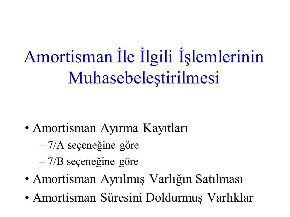 Amortisman İle İlgili İşlemlerinin Muhasebeleştirilmesi